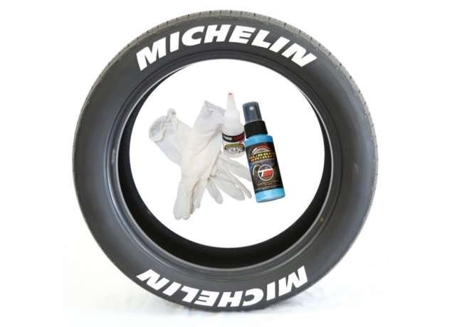 Tire Stickers Michelin Tire Lettering - Permanent Decals with Glue & 2oz Bottle Touch-Up Cleaner / 1.50 Inches/White / 8 Pack