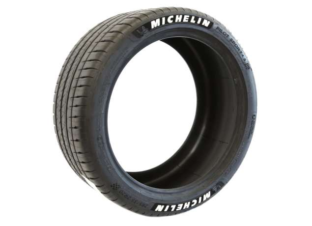 Tire Stickers Michelin Tire Lettering - Permanent Decals with Glue & 2oz Bottle Touch-Up Cleaner / 1.00 Inches/White / 8 Pack